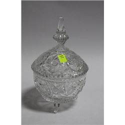 LIDDED PINWHEEL CRYSTAL  FOOTED CANDY  DISH