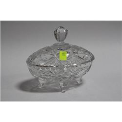 LIDDED PINWHEEL CRYSTAL FOOTED CANDY BOWL