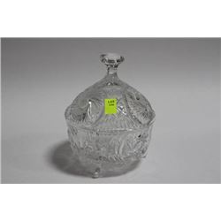 LIDDED PINWHEEL CRYSTAL FOOTED BOWL