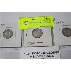 1931-34-36 GEORGE V SILVER DIMES X3