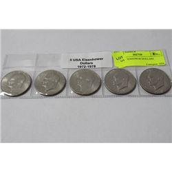 5 USA EISENHOWER DOLLARS 1972-1978