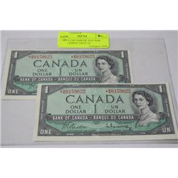 SCARCE UNC PAIR OF 1954 *B/M REPLACEMENT NOTE X2