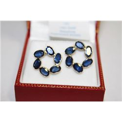 #131 14K GOLD SAPPHIRE 6.6ct EARRINGS