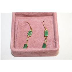 #122 14K GOLD EMERALD 2.3ct AND DIAMOND EARRINGS