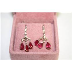 #124 14K GOLD RUBY 6ct AND DIAMOND EARRINGS