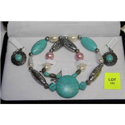 TURQUOISE NECKLACE AND EARRINGS SET AS THEY COME