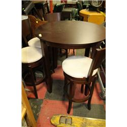 WOOD BAR TABLE W 4 FABRIC SWIVEL STOOLS*