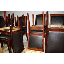 SET OF 10 WOOD AND LEATHERETTE SIDECHAIRS