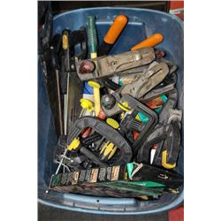 BIN OF ASSORTED HAND TOOLS INCLUDES SAWS,
