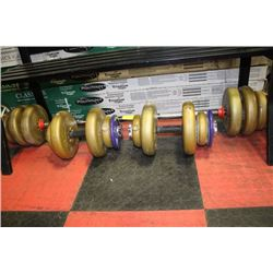 WEIGHT SET INCLUDES DUMBELLS, BENCH BAR & WEIGHTS