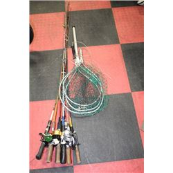BUNDLE OF 8 ASSORTED FISHING RODS WITH REELS &