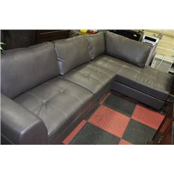NEW GREY LEATHERETTE L SHAPED SECTIONAL
