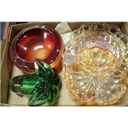 TRAY OF ASST CARNIVAL GLASS
