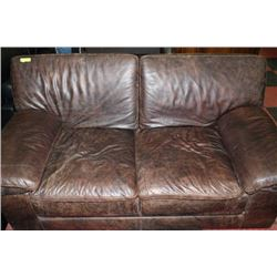 RUSTIC LEATHER LOVE SEAT