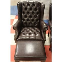 NEW BROWN LEATHER WING BACK PARLOUR CHAIR W
