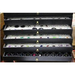 GEMSTONE DISPLAY CASE WITH 5 DRAWERS
