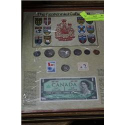 FRAMED CANADA CENTENNIAL CURRENCY COLLECTION,