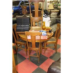 ANTIQUE OAK TABLE WITH LEAF, 5 CHAIRS & BUFFET