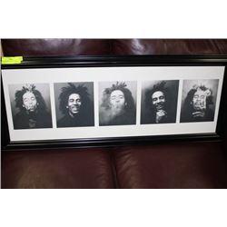 5 HEADSHOT PICTURES OF BOB MARLEY, FRAMED