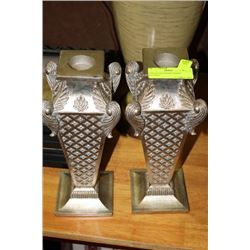 PAIR SILVER FINISH CANDLE HOLDERS