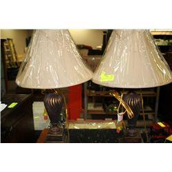 PAIR OF BRONZETONE DESIGNER LAMPS