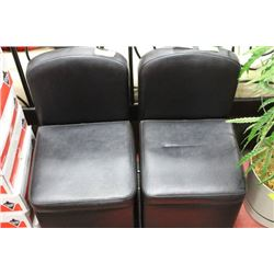 PAIR OF SMALL LEATHERETTE CHAIRS ON WHEELS X2