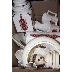 BOX OF ESTATE CERAMIC UKRANIAN DISHES