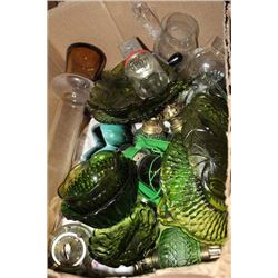 BOX OF GREE GLASS DISHES