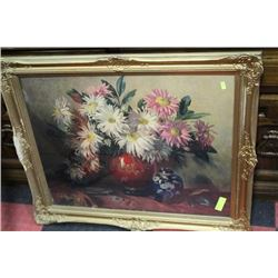 GOLD TONE FRAMED FLOWER PICTURE