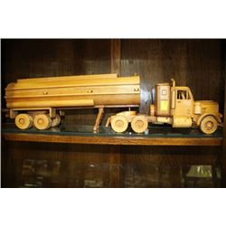 WOODEN MODEL OF 18 WHEEL TANKER TRUCK WITH THREE