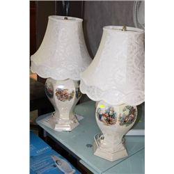 PAIR OF VINTAGE HANDPAINTED LAMPS