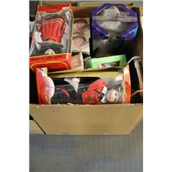 LARGE  BOX  W/ ESTATE ORNAMENT AND DOLL COLLECTION