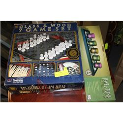 LIMITED EDITION GLASS & WOOD 7 GAME SET SOLD WITH