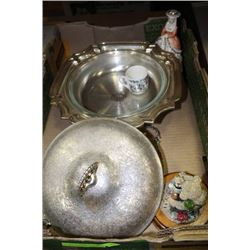 SILVERPLATED CHAFING DISH WITH LID AND GLASS