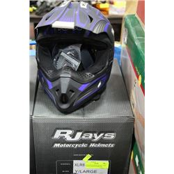 RJAYS MOTOCROSS HELMET, NEW YOUTH LARGE BLUE/BLACK