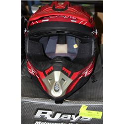 RJAYS MOTOCROSS HELMET, NEW, YOUTH SMALL RED/BLACK