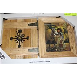 NEW NATIVE GIRL & PONY WOOD FRAMED CLOCK