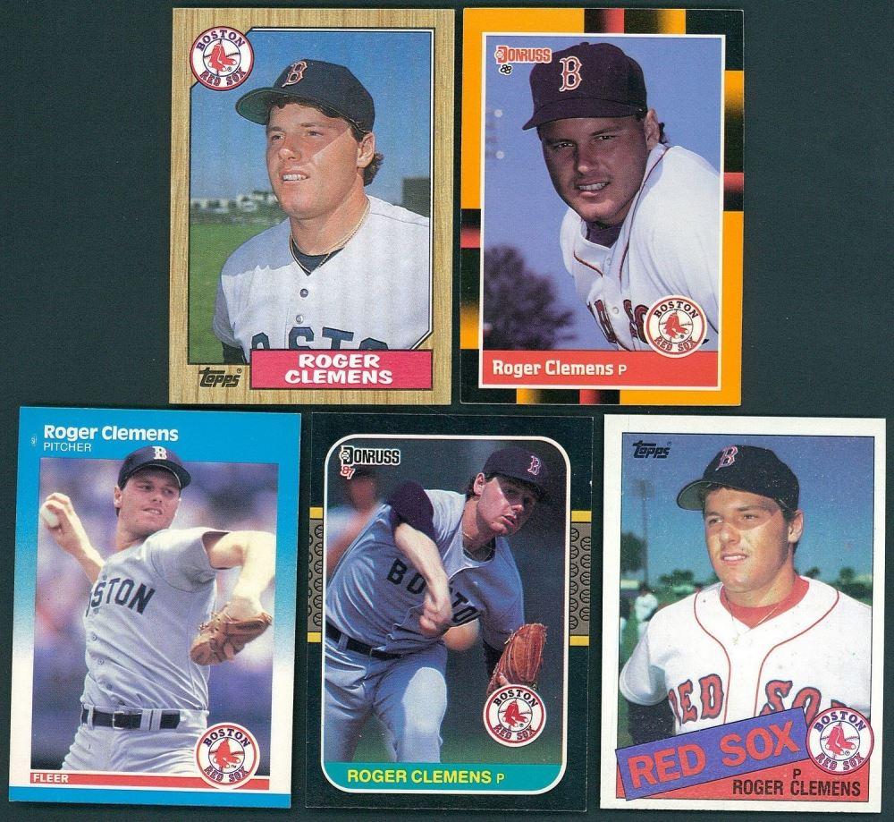 Lot Of 5 Roger Clemens Baseball Cards Including 1988 Leaf