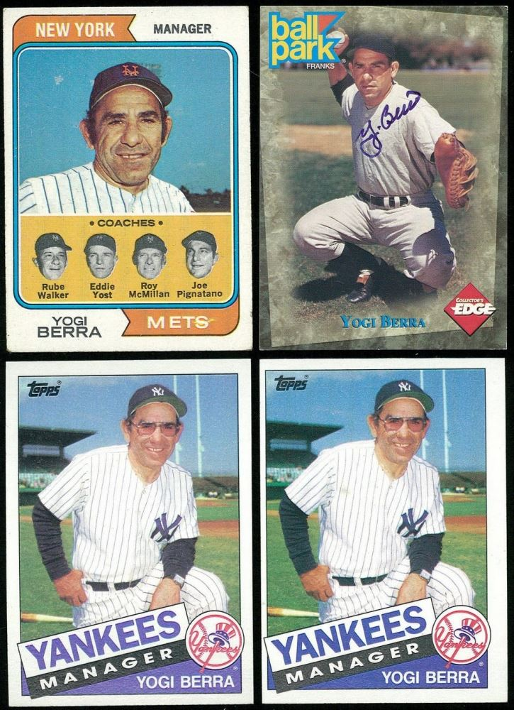 Lot Of 4 Yogi Berra Baseball Cards With 2 1985 Topps 155 Mg
