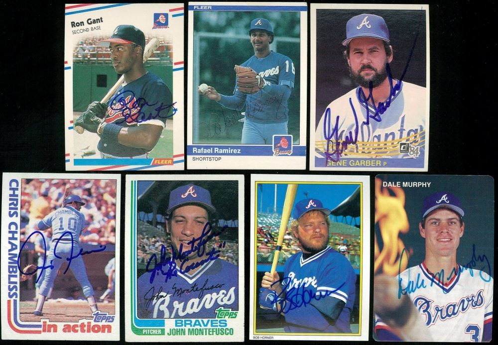 Lot Of 7 Hand Signed Braves Baseball Cards With Dale