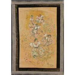 Betty Heredia Batik Fabric Painting Lady Folk Dancers