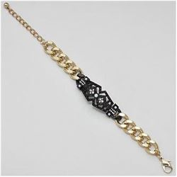 Gold Tone Hematite Bracelet w/Faux Pearls, Diamonds