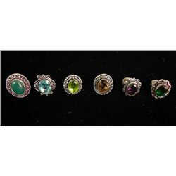 6 Assorted German Silver Rings Size 6
