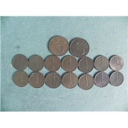 1 Group of 16 1950s and 1960s Netherlands Coins