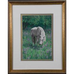Carolyn Griffin Original Pastel Art White Horse -Framed