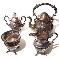 Vintage Floral Filigree Silver Plated 4pc Tea Set