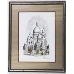 Ink Drawing of Sacré-Coeur Church in Paris by Rade