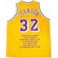 Magic Johnson Signed Lakers Stat Jersey PSA COA