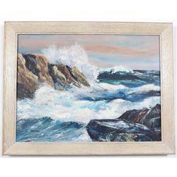 E. Stiles Seascape Painting Acrylic on Canvas Framed