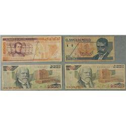 4 Pcs Mexico Paper Money 10, 2000, 5000 Pesos 1987-92